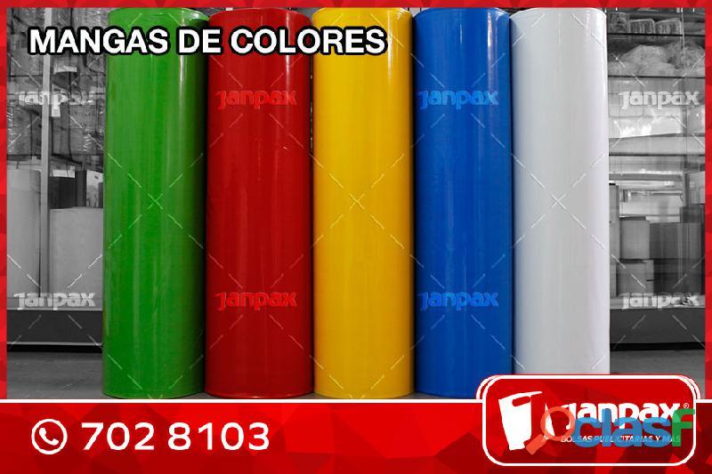 Mangas plásticas biodegradables en colores   mercadería en stock