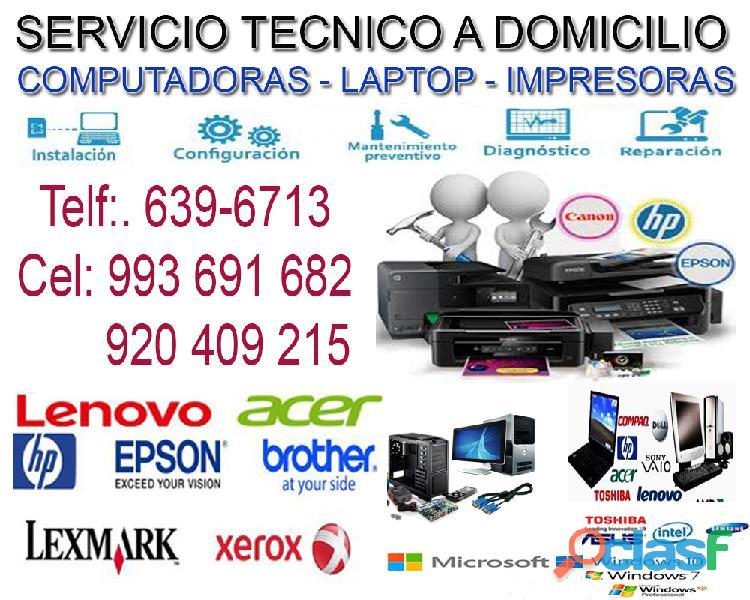 Servicio técnico de computadoras y laptops a domicilio 993691682