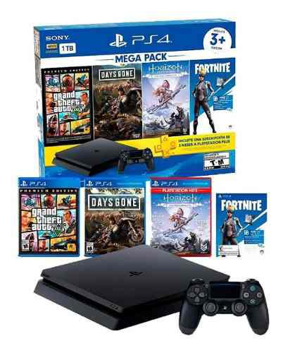 Consola playstation 4 mega pack 1tb + 3 juegos + membresía