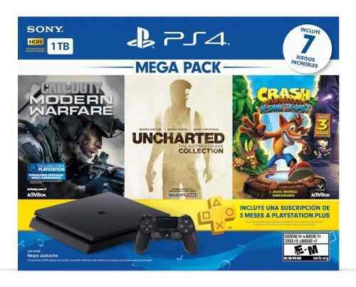 Consola ps4 slim 1tb mega pack (7 juegos incluidos)