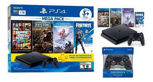 Playstation 4 mega pack + 2 mandos + 3 juegos + membresía