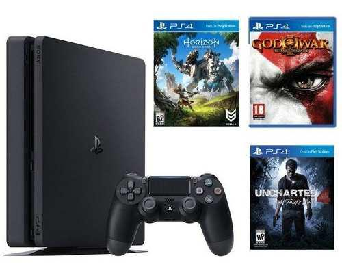 Ps4 consola playstation 4 slim 1tb + 03 juegos + 01 mandos