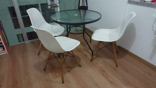 Juego de comedor mesa circular de vidrio d = 86cm + 3 sillas