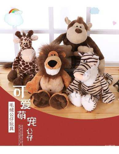 Peluches safari 30cm león, jirafa, tigre y mono importados