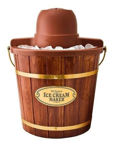 Máquina para hacer helados nostalgia icmw400 4 lts madera