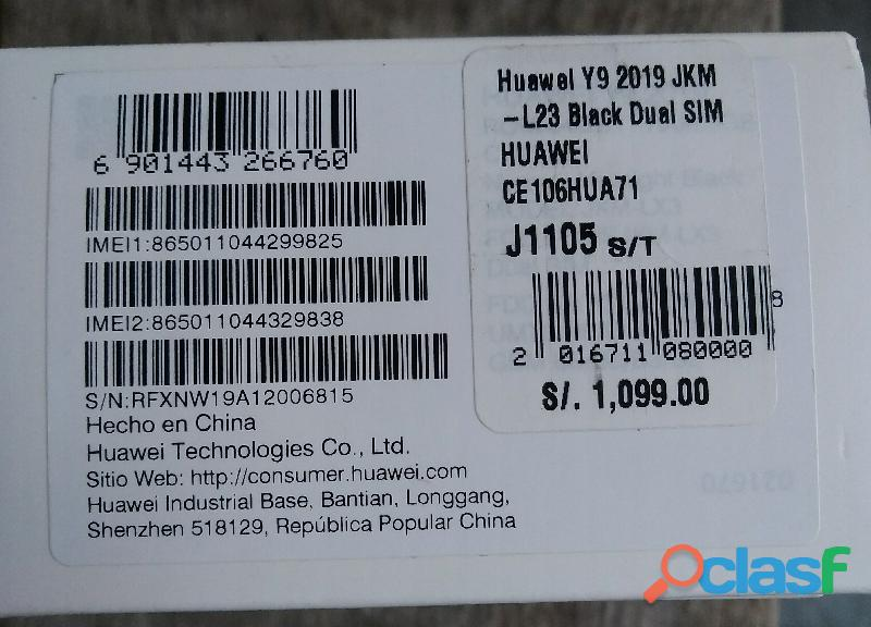 Vendo celular Huawei Y9 2019, 64 GB, cuatro cámaras, nuevo en caja sellada 6