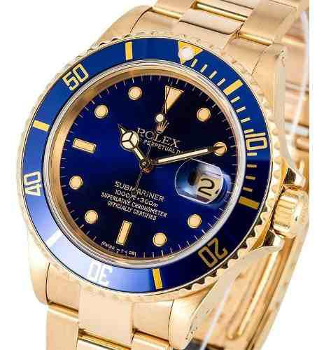 Reloj rolex submariner date gold(esfera azul)