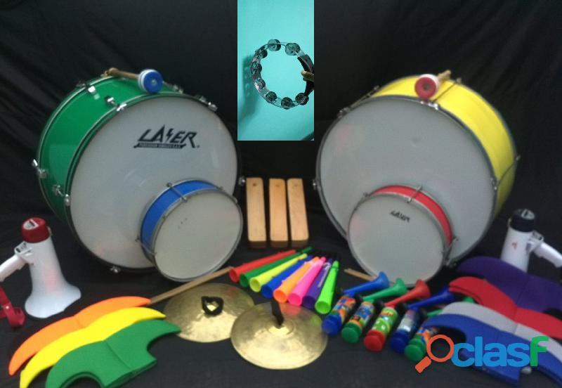 Alquiler bombos megafonos tarolas matracas platillos cornetas vuvuzelas panderetas gorros muñecos