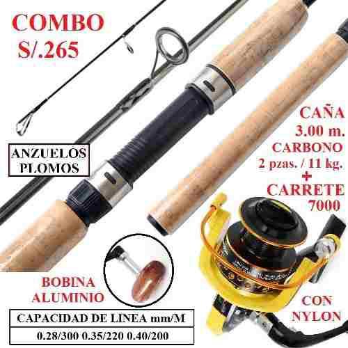 Caña Pesca 3.00m Carbono Carrete 7000 Nylon Anzuelos Plomos