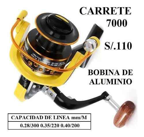 Carrete De Pesca Modelo 7000 Metal Caña Señuelos Anzuelos