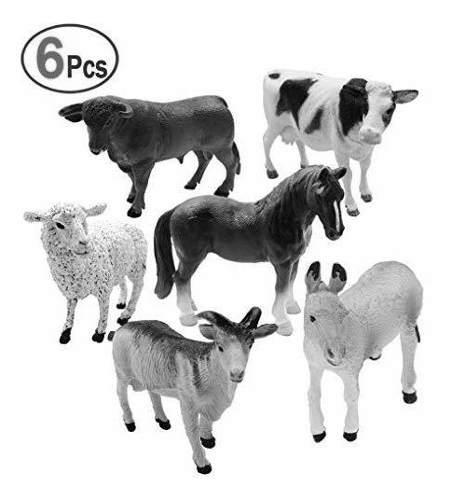 Juego de juguetes de 6 piezas de modelos de animales de gra