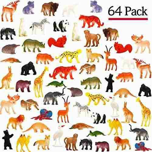 Juguete de animales, juego de 64 mini modelos de animales s