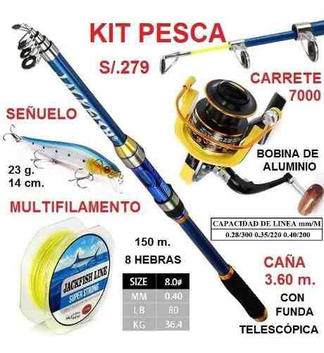 Kit pesca caña 3.60m carrete 7000 multifilamento señuelo