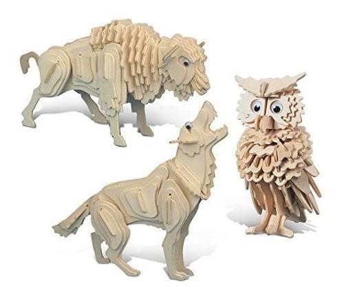 PUZZLED WOLF, BÚHO Y BUFFALO 3D PUZZLE DE MADERA CONSTRUCCI, usado segunda mano  Lima (Lima)