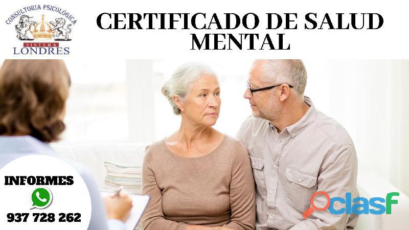 Certificado de salud mental