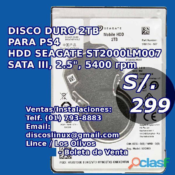 Disco duro 2tb para ps4, disco duro seagate hdd interno y nuevo