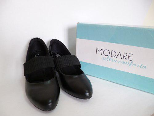 Zapatos negros t/35 taco 4cm modare acolchado por dentro
