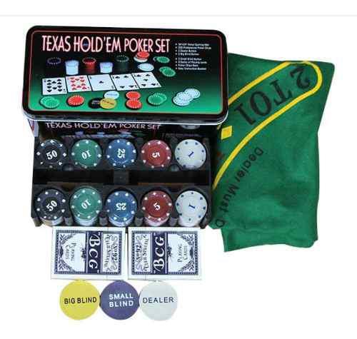 Set poker 200 fichas 4gr + cartas + paño caja metal 300-500