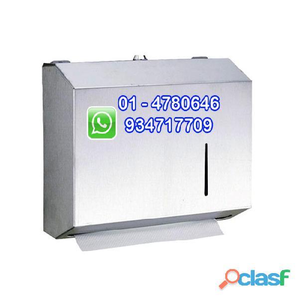 Dispensador de papel toalla interfoliado en acero inoxidable
