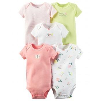 Oferta carter's pack 5 enterizos algodón bebé niña 6-9