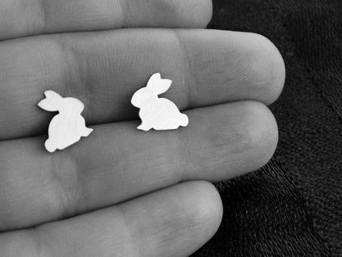 Aretes de plata 950 mujer niñas joyería joyas conejo
