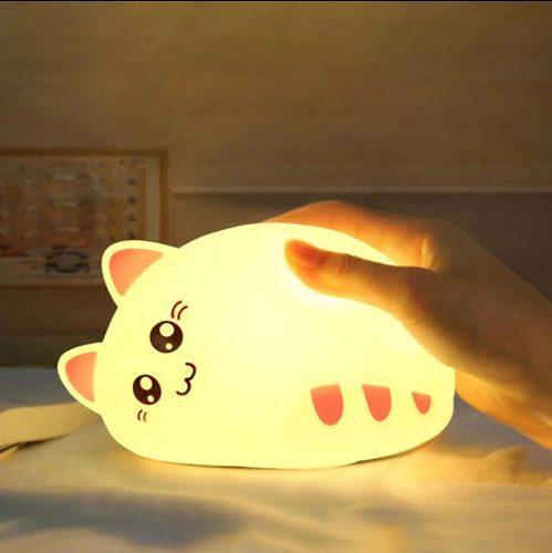Lámpara silicona led recargable gato gatito