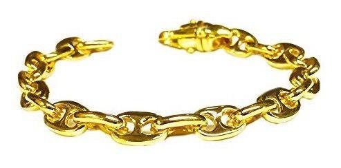 Oro amarillo de 14 k solido pesado ancla mariner cadena / pu