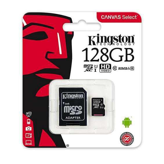 Memoria micro sd kingston canvas 128gb clase 10 uhs-i en
