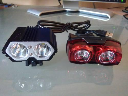 Luces led bicicleta frontal y posterior