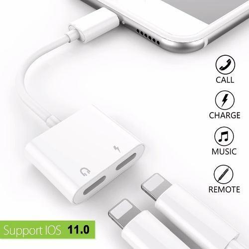 Adaptador audio + cargador iphone 7/ 7 plus/ 8/ 8plus x