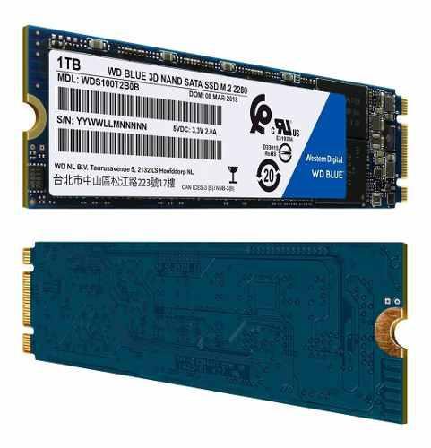 Disco sólido ssd m.2 2280 wd blue 3d nand 1tb sata 3.0