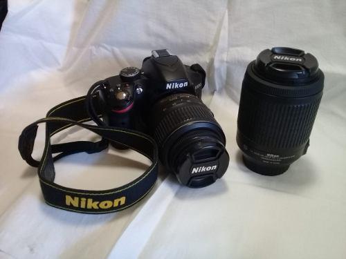 Camara nikon d3200 + objetivo 18-55 + lente nikkor 55-200