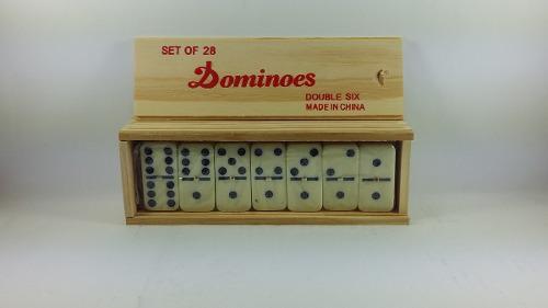 Dominoes x 6 puntos en caja de madera con fichas acrílicas