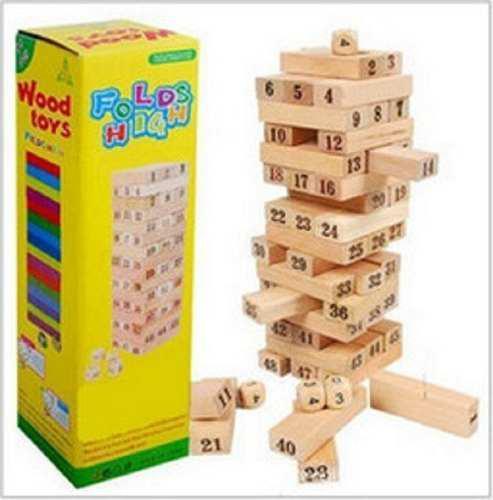 Jenga de madera x 48 pcs numerado y de colores