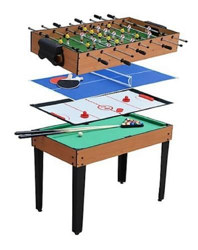 Mesa de juego 4 en 1 fulbito billar hockey ping pong en caja