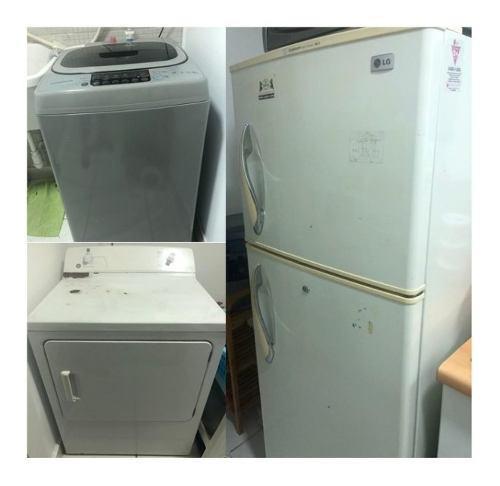 Refrigerador lg + secadora ge + lavadora daewo