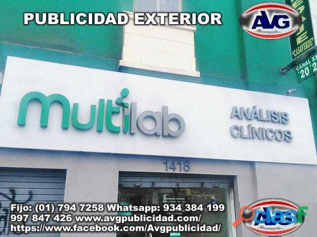 Avisos luminosos publicidad exterior lima perú avg , logos, letras corpóreas iluminadas y letreros