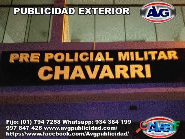 Publicidad exterior avisos luminosos lima perú avg , logos, letras corpóreas iluminadas y letreros