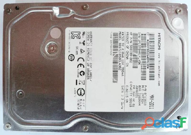 Disco duro 500 gigas sata 500 gb hitachi 100% operativo