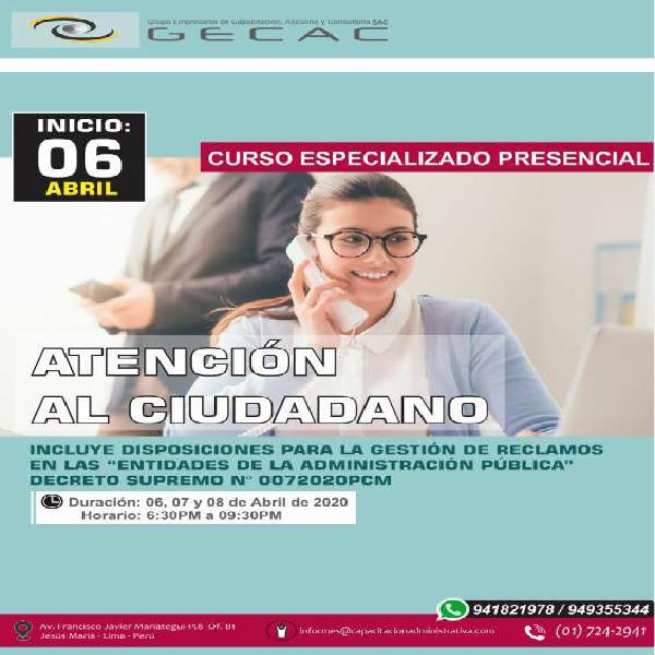 Curso taller atención al ciudadano en Pucallpa