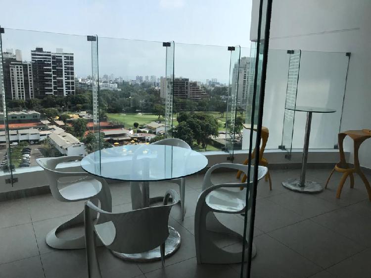 Exclusivo flat con terraza vista golf amoblado 3 dorms 175