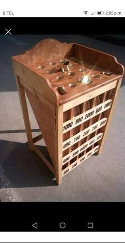 Juego de sapo madera con 12 fichas o monedas de bronce