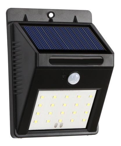Foco 20 led luz panel solar sensor exteriores jardin hogar