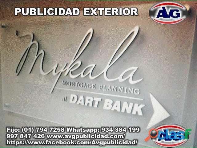 Avisos luminosos publicidad exterior lima perú avg, logos, letras corpóreas iluminadas y letreros