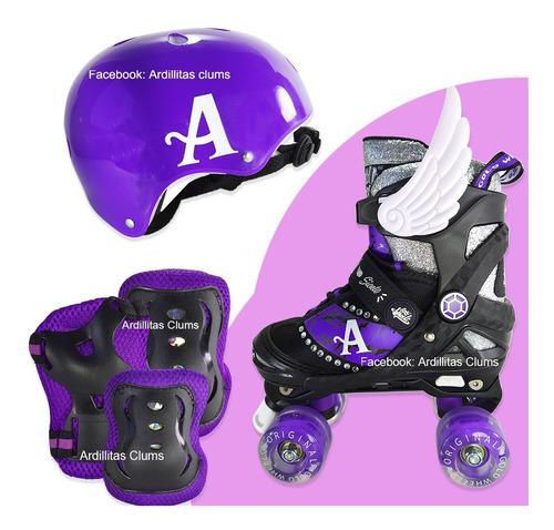 Patines 4 ruedas+ set de protección 4ruedas rollers niñas