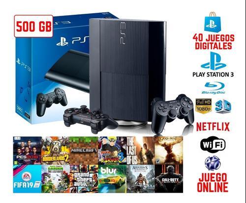 Playstation 3 Super Slim 500gb 40 Juegos Digitales 1 Mando