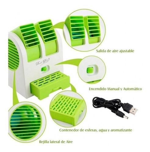Ventilador Mini Aire Acondicionado Usb Pilas 2 Salidas