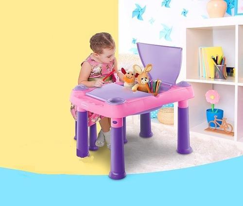 Mesa didactica para niños polinplast + 2 bancas + envio