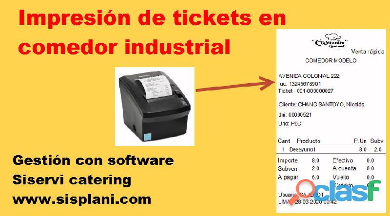 Ticketera en concesionario comedor industrial / escolar software siservi catering