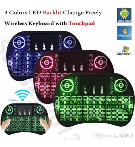 Mini teclado inalambrico smart tv luz led pc android netflix